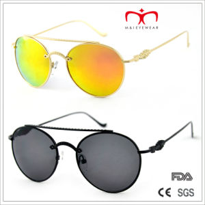 2015 Fashion Metal Decorated Temple and Round Frame Sunglasses (MI205) pictures & photos