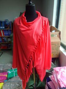 Women′s Long Sleeve Pure Color Tassel Slash Blouse Tops Shirt pictures & photos