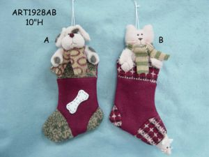 "10""H Cute Cat & Dog Stocking-2asst. -Christmas Decoration pictures & photos"