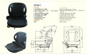 Adjustable Suspension Forklift Seat (SC08-1) pictures & photos