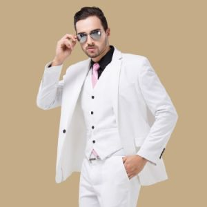 Men Fitted 3 Piece Prom White Suit