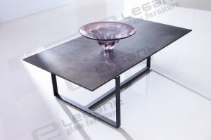 Black Glass Coffee Table with Stone Power Veneer Top pictures & photos