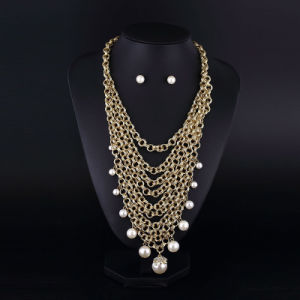 Gold Plating Aluminum Chain Pearl Multilaye Necklace pictures & photos
