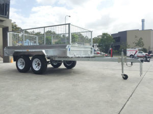 8X5 10X5 10X6 Hot Dipped Galvanized Tandem Box Trailers with Cage pictures & photos