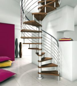 Stainless Steel Handrail Wood Spiral Stair/Staircase pictures & photos