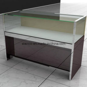 Glass Stainless Steel Jewelry Showcase with LED Lighting and Lock pictures & photos