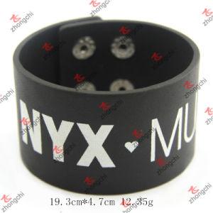 Wide Custom Logo Black Leather Bracelet Fashion Decoration (LB15112302) pictures & photos