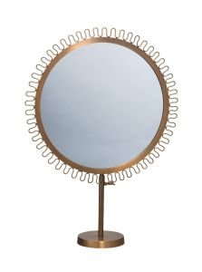 Sunburst Round Standing Framed Vanity Mirror with Antique Gold Brass Finish pictures & photos