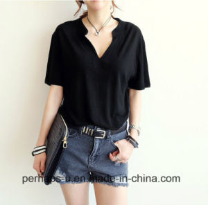 High Quality Ladies Clothes Fashion Pure Color Cotton T-Shirt pictures & photos
