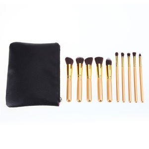 10 Pieces Classic Golden Color Cosmetic Tool Beauty School Makeup Brush pictures & photos