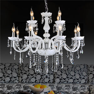 White 8+4 Lights Candle Crystal Chandelier Contemporary