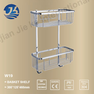 Corner Stainless Steel Bathroom Accessories Net/ Storage Rack Shelf (W19)
