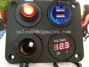 Waterproof Panel Mount Dual USB Power Socket Charger Marine Car Truck 12V-24V pictures & photos