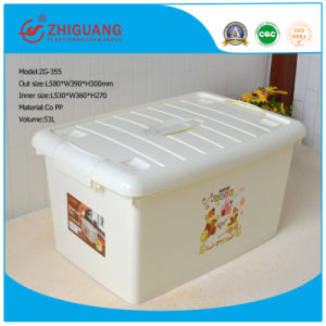 Plastic Cartoon Storage Box with Wheels for Storag pictures & photos