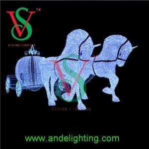 Horse Carriage Santa Claus Christmas Landscape Decoration Motif Light pictures & photos