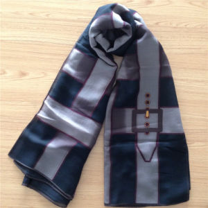Printed Silk Wool Scarf in Grid Pattern