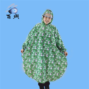 Polyester Adult Printed Rainwear with Hood pictures & photos