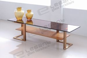 Golden Brushed Stainless Steel TV Stand with Smoked Glass Top pictures & photos