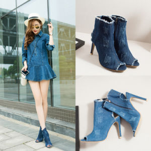 Summer Fashionable High-Heeled Shoes Fish Mouth Hollow Short Boots European and American Style Washed Denim Cool Boots pictures & photos