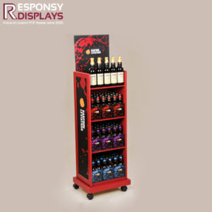 Attractive Movable Red Wood Standing Wine and Beer Bottles Display Shelves pictures & photos