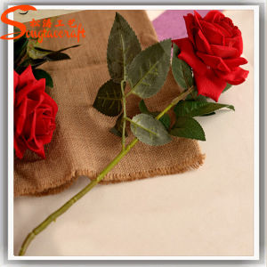 China Manufacturer Artificial Fake Plstic Tissue Fabric Rose Flower pictures & photos