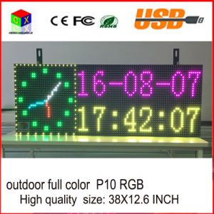 P10RGB Outdoor Full Color LED Sign USB Programmable Rolling Information LED Display Screen 38X12.6 Inch pictures & photos