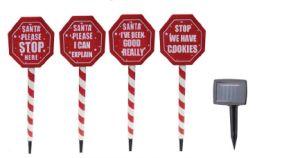 Set of 4 Solar Santa Stop Sign pictures & photos