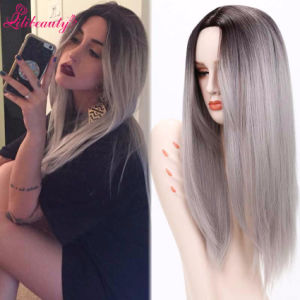 Ombre Grey Synthetic Wigs Long Straight Hair Cheap Synthetic Wigs pictures & photos