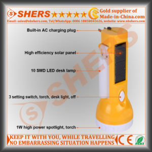 Solar 1W LED Flashlight with 10 LED Desk Lamp (SH-1909) pictures & photos