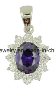 925 Sterling Silver Pendant Amethyst CZ Teardrop for Women pictures & photos