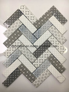 White Ink Jet Printing Herringbone Glass Mosaic Tile pictures & photos