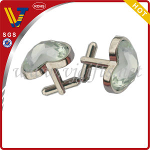 Heart Shape Cufflinks with Real Eye Stones for Wedding Gift (WHCL-0036)