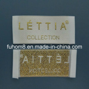 Clothing Woven Main Label with Metallic Thread pictures & photos