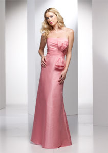 Baby Pink with a Bow Chiffon Strapless Bridesmaid Dresses (BD3031) pictures & photos