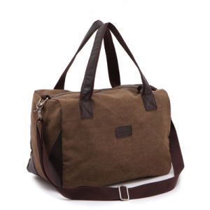 Small Vintage Canvas Tote Duffle Handbag Two Toned Casual Square Gym Travel Bag pictures & photos