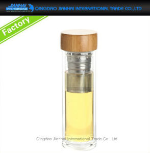 Leak Proof Flip-Top Glass Sport Water Bottle with Strainer pictures & photos