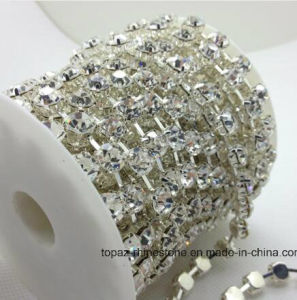 6mm Ss28 Round Cup Chain Crystal Clear Color Silver Base 888 Top Shiny Dress Crystal Rhinestone Cup Chain (TCS-ss28/6mm silver/crystal) pictures & photos