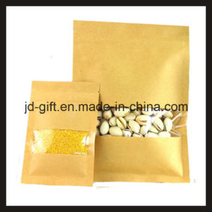 Resealable Biodegradable Environmental Food Kraft Paper Packing Pouch with Window, Could Add Cusotmized Printing pictures & photos