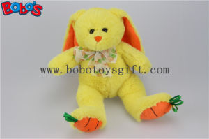 "9.5"" Baby Gift Toy Yellow Plush Stuffed Bunny Animal with Embroidery Carrot Feet Bos1156 pictures & photos"