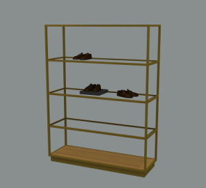 Glass and Matel Display Rack for Shoes Retail Stores