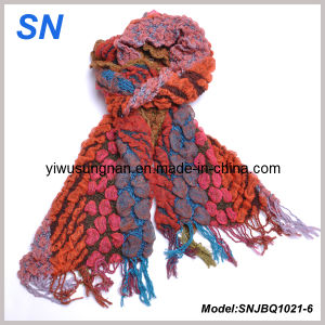 Fringed Thick Striped Winter Warm Ruffle Scarf (SNJBQ1021) pictures & photos