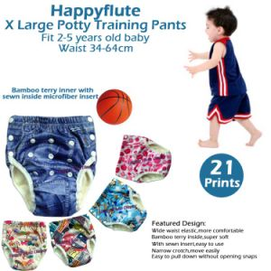 Happyflute Onesize Potty Training Pants, Bamboo Terry Inner, TPU Outer, Waterproof and Breathable, Fit Babies 2-5 Years Old