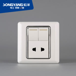 Flame Retardant PC Plastic Series 2 Gang + 1 Socket Switch pictures & photos