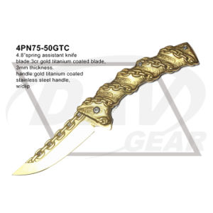 "4.8"" Gold Spring Assistant Pocket Knife with Titanium Coated (4PN75-50GTC) pictures & photos"