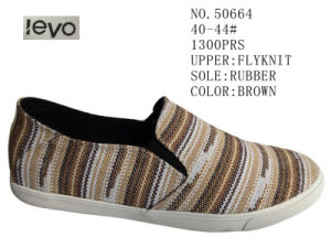 Brown Color Fly Knit Men Skate Shoes pictures & photos