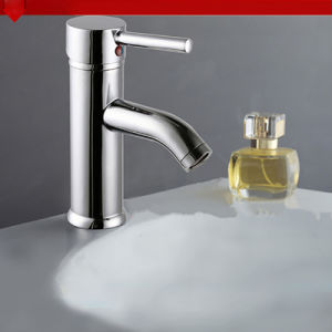 Sanitary Ware Chrome Plated Deck Mounted Double Handle Bathroom Brass Faucet pictures & photos