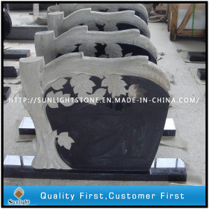 Cheap Tree Carving Tombstone with Pure Black Granite pictures & photos