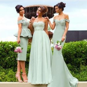 Charming A Line Boat Neck Spaghetti Straps Knee Length Grey Bridesmaid Dress (HS110) pictures & photos