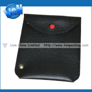 Black Smooth Leather Snap Jewelry Pouch (R-013)