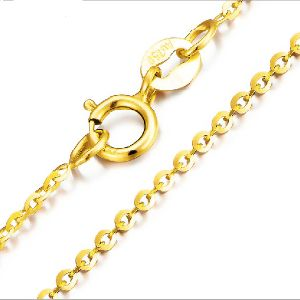 18CT Yellow Gold Chain Necklace, 18k 1mm Round Cable Chain with Spring Clasp, Golden Bijoux Jewelry for Women 2015 Trendy String